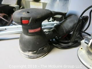 "Collection of Craftsman corded tools including bench grinder;  3/8"" variable speed, reversible drill; palm sander; router and assorted bits"