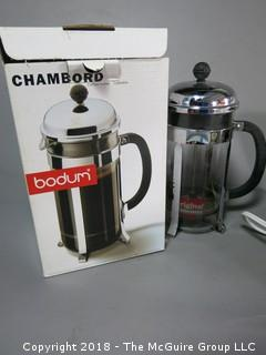 Collection including Bodum French Press coffee pot and gravy-mate crock pot