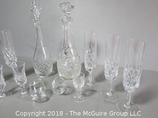 Collectioon of Cut Crysta Stems and Decanter Set
