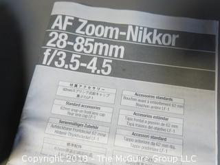 AF Zoom-Nikkor 28-85mm 1:3.5 - 4.5 (Photos were adjusted 2018-07-11 at 12:44pm.  If you want to retract a bid, contact me)