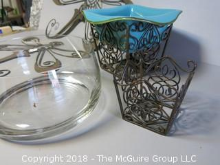 Collection including Clear Crystal Bowl and Decorative Metalworks