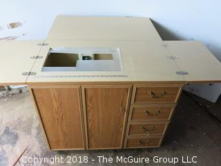 Folding Sewing Table and Cabinet