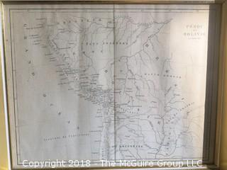 Historical Framed Map of Peru and Bolivia by Jenotte- circa 1841- Image Size 7 x 9""