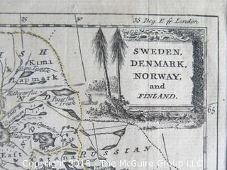 """Historical map of Sweden, Denmark, Norway and Finland; by T. Kitchin*; circa early 18th c; image size 7 1/2 x 9""""  * Thomas Kitchin (1718–1784) was an English engraver and cartographer, who became hydrographer to the king."""
