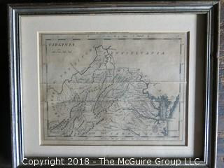 Historical map of Virginia; published by Thomas and Andrews, Boston; circa early 19th c; Image Size 6 x 7 1/2""