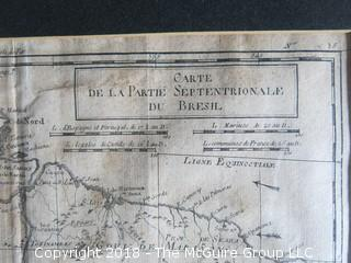 Historical map: Carte de la Partie du Bresil: Septrionale; circa late 18th c; Image Size 9 x 12""