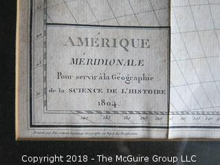 Historical map of South America:  Amerique Meridionale Pour Servir a la Geographie de la Science de l'Histoire; 1804; drawn by D.L. Contant; engraved by Tardieu l'Aine; Image Size 12 x 12""