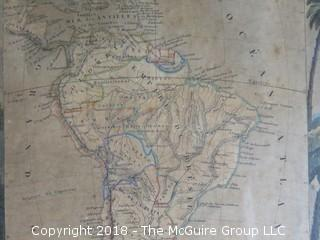 Historical Map of South America; cartographer V. Levasseur; engraver Laguillermie and painted by Ramond Bonheur; circa 1800; Image Size 13 x 17""