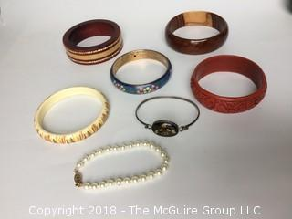 Collection of 7 Bracelets Including Enamel and Cinnabar