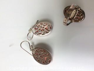 Sterling and Sponge Coral Matching Earrings and Ring
