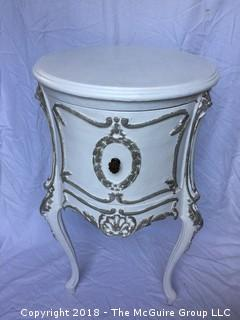 White Shabby Wood Side Table with Decorative Wood Applique