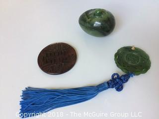 Jade Egg with Bird, Carved Jade Medallions