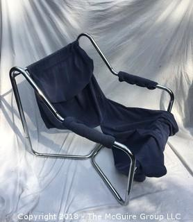 MCM Blue Chrome Tube Lounge Arm Chair Needs Stuffing Resewn