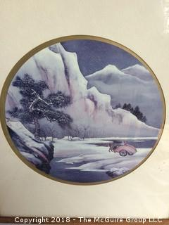 Framed Asian Print of Horse Cart in Snowy Landscape