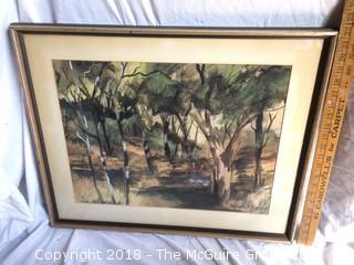 Listed Artist Sherman H. Raveson Watercolor Framed with Glass and Signed