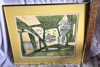 """Listed Artist Jack Perlmutter """"Ferry"""" Lithograph"""