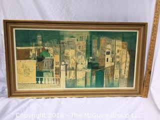 Listed Artist William Thon Signed Lithograph In Frame Under Glass