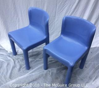Set of Two 1970s Carlo Bertoli for Kartell Italy Blue Plastic Kid's Chairs