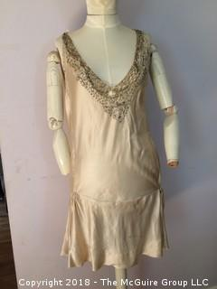 1920s Small Silk Women's Slip Dress with Beading at Neckline