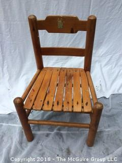 Vintage Wood Child's Chair with Old Decal