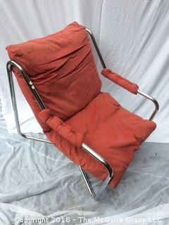 MCM Red-Orange Chrome Tube Lounge Chair with Original Upholstery