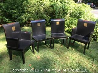 """Set of Four Asian-Inspired Dining Chairs, Two with Arms, Etched Metal Plates Translate to """"Four Seasons"""""""