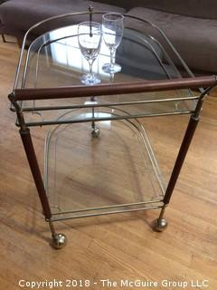 Mid Century Teak, Brass, and Glass Two-Shelf Bar Cart on Wheels