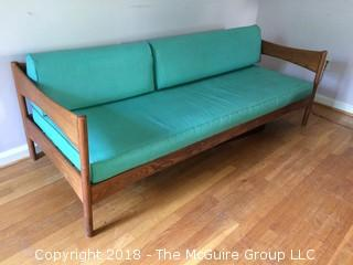 MCM Couch with Turquoise Vinyl Cushions in Good Condition