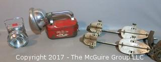 Mid Century collection including 1960's bike headlamp, search light and strap-on ice skates