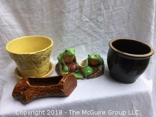 Collection of Vintage Pottery Planters Including Old McCoy Pot