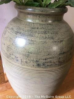 Large Pottery Vase with Fake Flowers