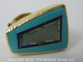 Men's 14k gold ring with face of turquoise, lapis, abalone and opal; believed to be crafted by Ken Nelson, Goldsmith, Georgetown, CO; 28 total grams {Description altered 11-7-2018 at 12:29pm}