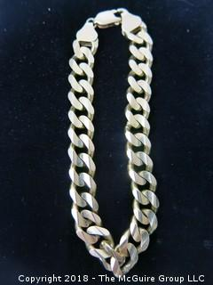 "Curb/Cuban Link 14k Gold Bracelet; 9"" long; 44g {Description altered 11-7-2018 at 12:29pm}"