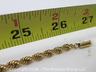 """14k Gold old rope braided necklace; 27"""" long; 58 grams {Description altered 11-7-2018 at 12:29pm}"""