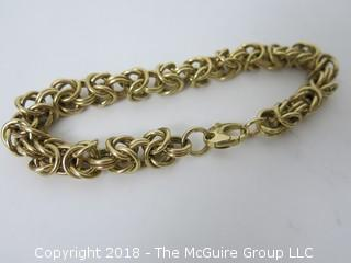 "Byzantine 14k gold bracelet; 10"" length; 87 grams {Description altered 11-7-2018 at 12:29pm}"
