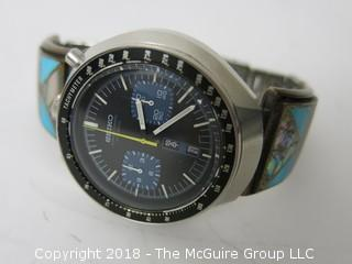 Seiko Chronograph Automatic Tachymeter Men's Watch with turquiose adorned band