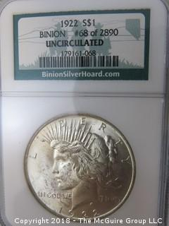 1922 $1 Silver Dollar; Uncirculated; BINION, #68 of 2890; slabbed by NGC