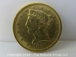 1880 $5 Five Dollar Gold Coin