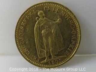 1906 10 Korona Gold Coin from Czeckoslovakia