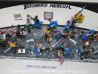 """Montage of Hirshhorn Museum by Diane Marie Cobert Brunner, often referred to as the female Red Grooms.  The artist has exhibited her works at the Empire State Building, the Museum of Contemporary Art in San Diego, the Yogi Berra Museum in New Jersey and the Museum of the Living Artist in San Diego. 11 1/4""""T x 34""""W x 6 1/2""""D {comes with custom made clear plexiglass cover} www.dianebrunnerart.com"""