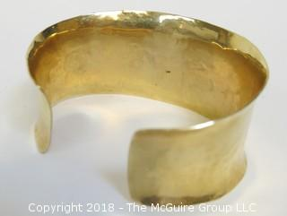 14K Yellow Gold Hammered Cuff Bracelet; total weight 48g
