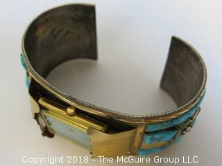Men's Gold Over Sterling Watch Band Embellished w/Turquoise; total weight 102g (Description Altered Dec.13 at 4:44pm ET)