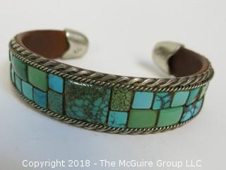 Men's Turquoise Bracelet Flanked by Sterling Half Rope Design and Inside Leather Band