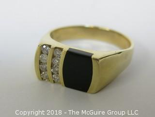 Men's 14K Yellow Gold Ring with Face of Onyx and 2 Rows of Channel Set Diamonds; total weight 10g