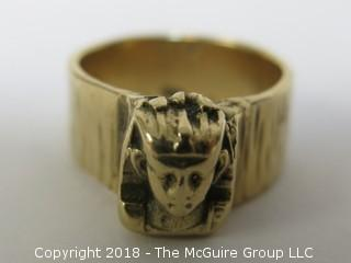 14K Yellow Gold Men's Ring with Mythical Figural Motif; total weight 16g