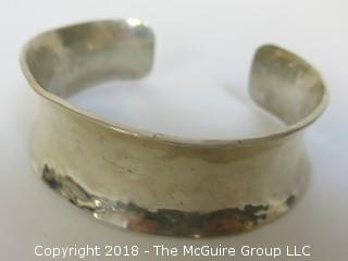 Men's Hammered Sterling Cuff Bracelet; total weight 84g