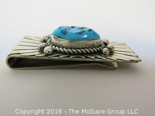 Sterling Money Clip with Turquoise; total weight 22g