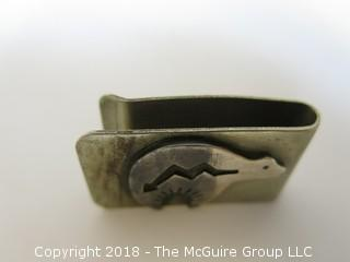 Sterling Money Clip with Inuit Art Motif; total weight 28g