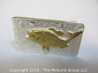 Fisherman's Sterling Silver Money Clip; numbered; total weight 38g