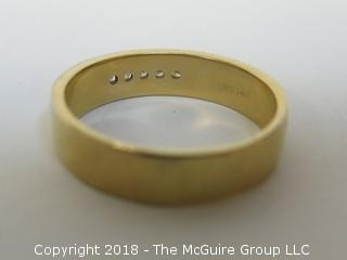 Men's 14K Yellow Gold Ring with 5 Channel Set Diamonds; total weight 10g